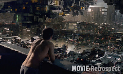 Total Recall (2012) - futuristic cityscape skyline reminds me of The Fifth Element or Blade Runner
