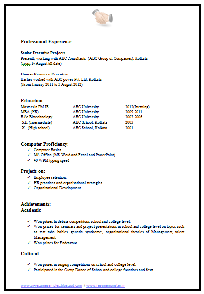 Mba Hr Resume Format For Experienced resume format for mba – Resume Format for Mba Finance