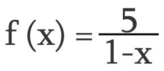 Descobrir domínio da função 5 sobre 1 menos x