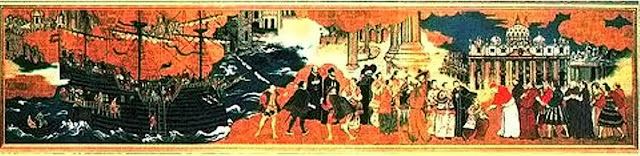 O embaixador Hasekura Tsunenaga se ajoelha diante do Papa. Pintura japonesa anônima, século XVII