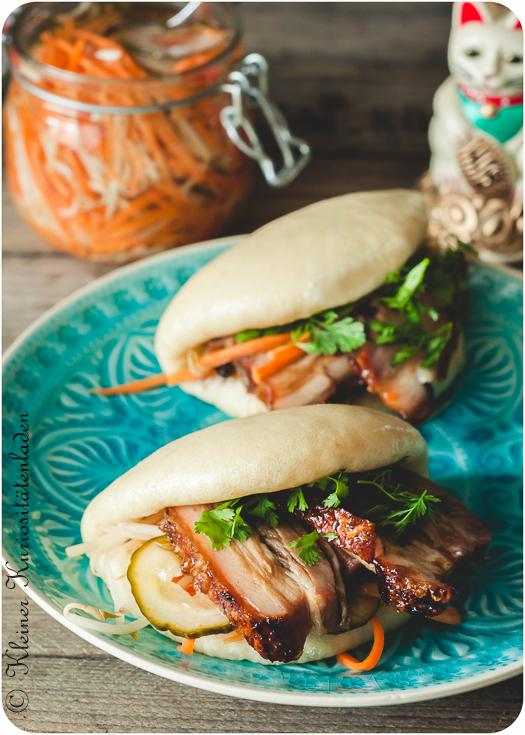 Gua Bao mit geschmortem Schweinebauch