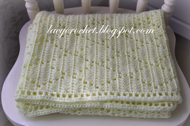 Free Crochet Pattern For Lacy Baby Blanket : Lacy Crochet: Diamond Stitch Baby Blanket, Free Pattern