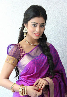 Shriya Saran in Cute Purple Traditional Saree