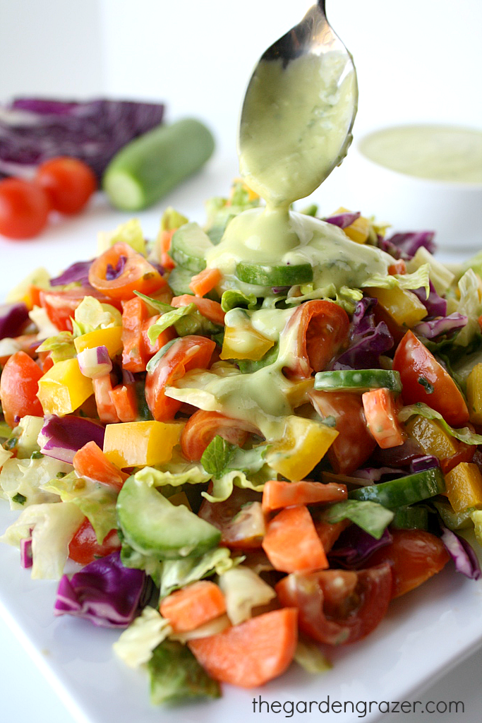 Chopped Vegetable Salad With Lemon-Garlic Dressing Recipe — Dishmaps