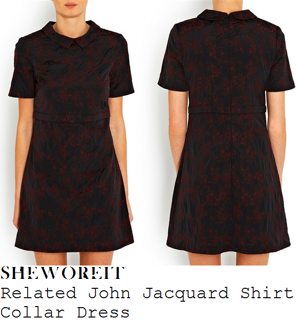 caroline-flack-black-and-red-filigree-lace-print-collared-short-sleeve-dress-xtra-factor