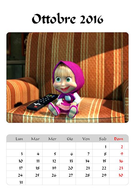 Calendario 2016 - Masha e Orso - Ottobre