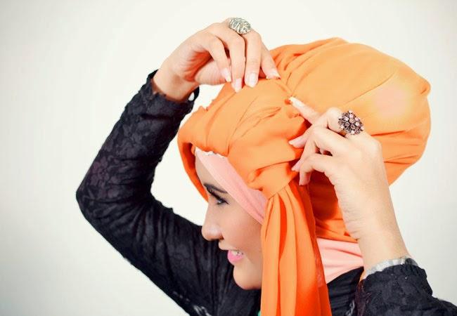 Cara Memakai Jilbab Segi Empat Model Turban - Jilbab Rias