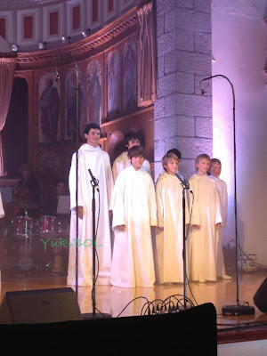 Picture of Josh Madine and Libera boys in Channel Island.