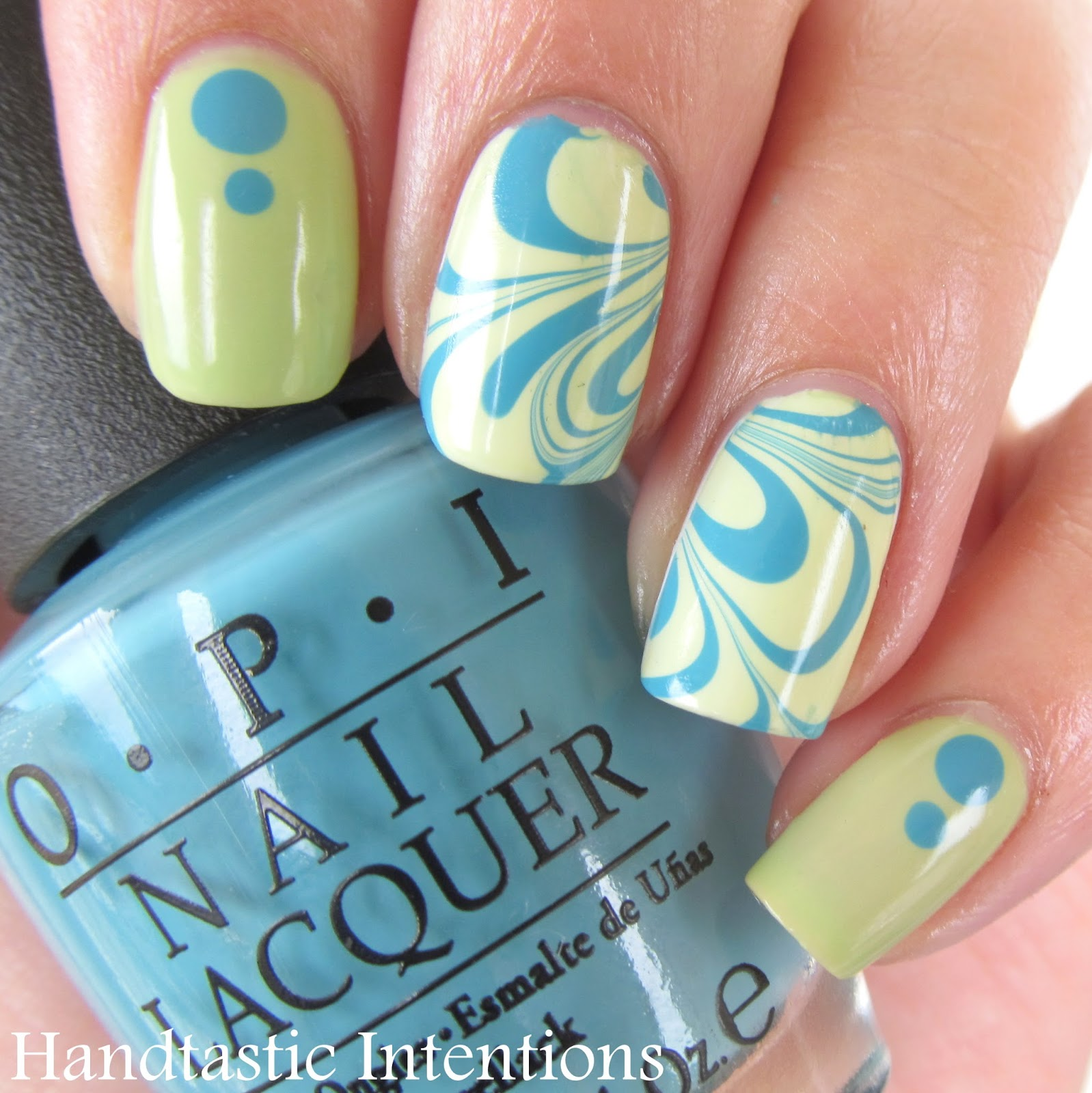 Nail-Art-Water-Marble-Turquoise-Green-2