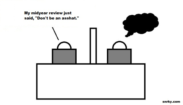 My midyear review just said, Don't be an asshat.