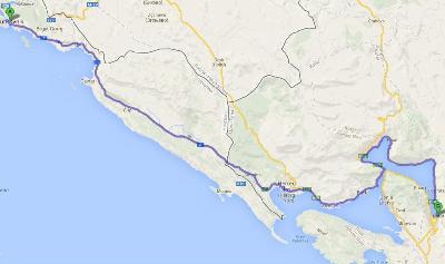 Mapa de ruta entre Dubrovnik y Kotor