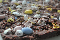 Dark chocolate fudge with Cadbury Mini Eggs and sea salt