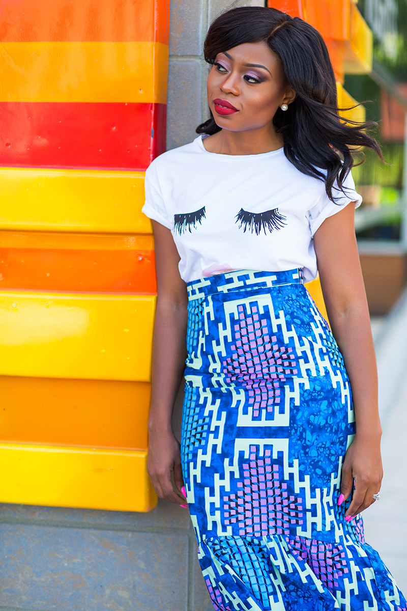 African print skirt and sincerely jules tee