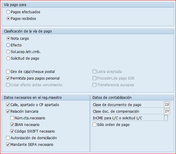 Vía de pago SEPA débito directo