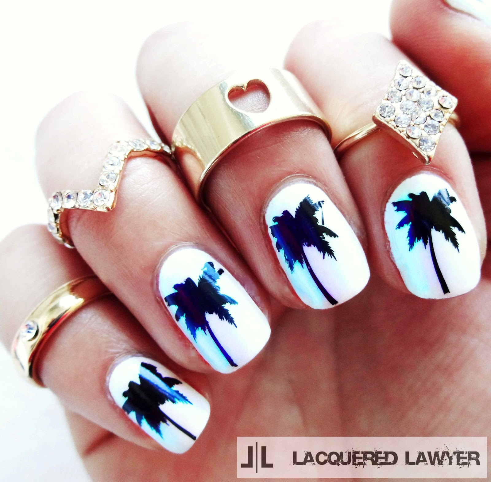 Pearlescent Palm Tree Nail Art