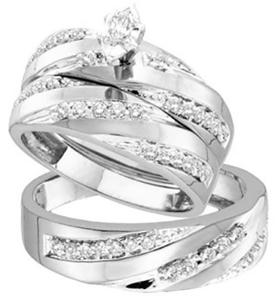 Wedding Ring Trios on Wedding Rings Sets White Gold