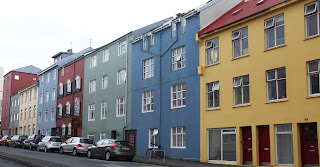a colourful row of houses on a reykjavik street