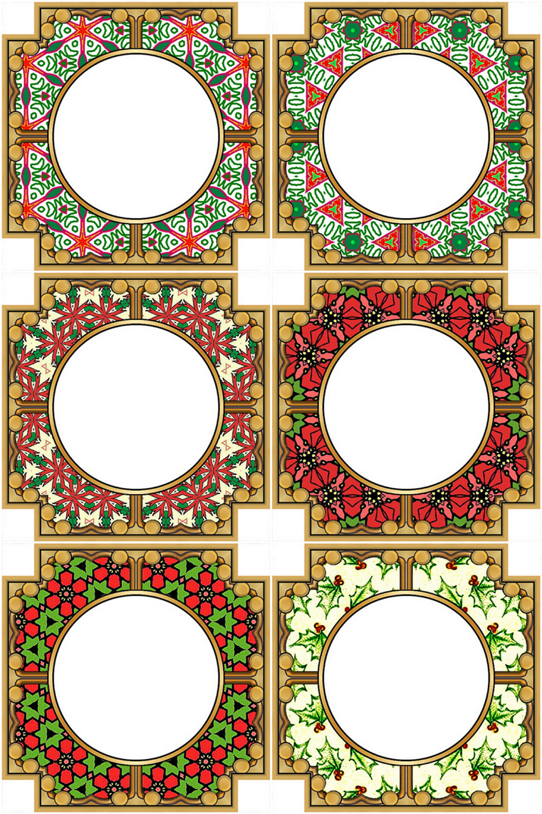 digital collage sheet with set of six square frames christmas colors red green set of six different square frames with round holes each frame