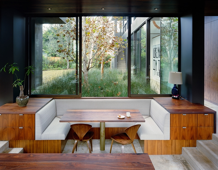 Wooden kitchen table in Vienna Way Home by Marmol Radziner