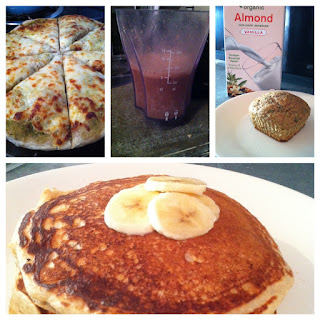 Pizza, coconut water, zucchini muffins, pancakes