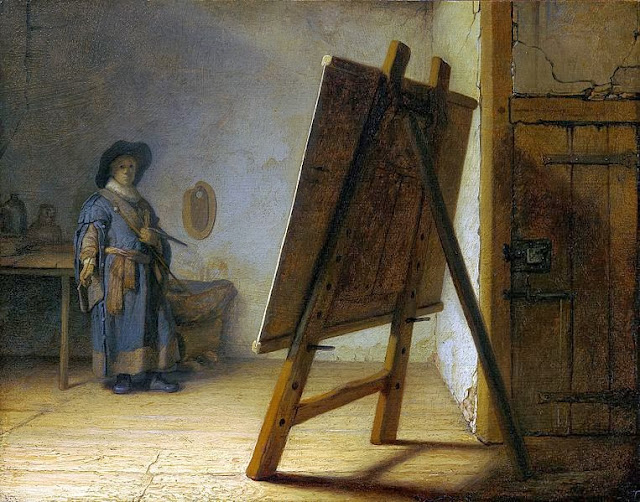 """Picture of """"The Artist in his Studio"""" by Rembrandt, 1626-1628"""