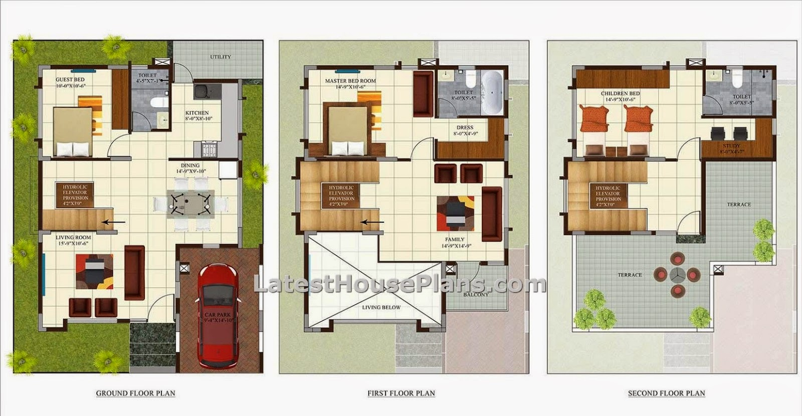 Three bedroom luxury villa house plan in area of 1850 sq ft