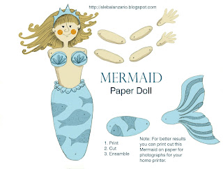 Mermaid, free paper doll