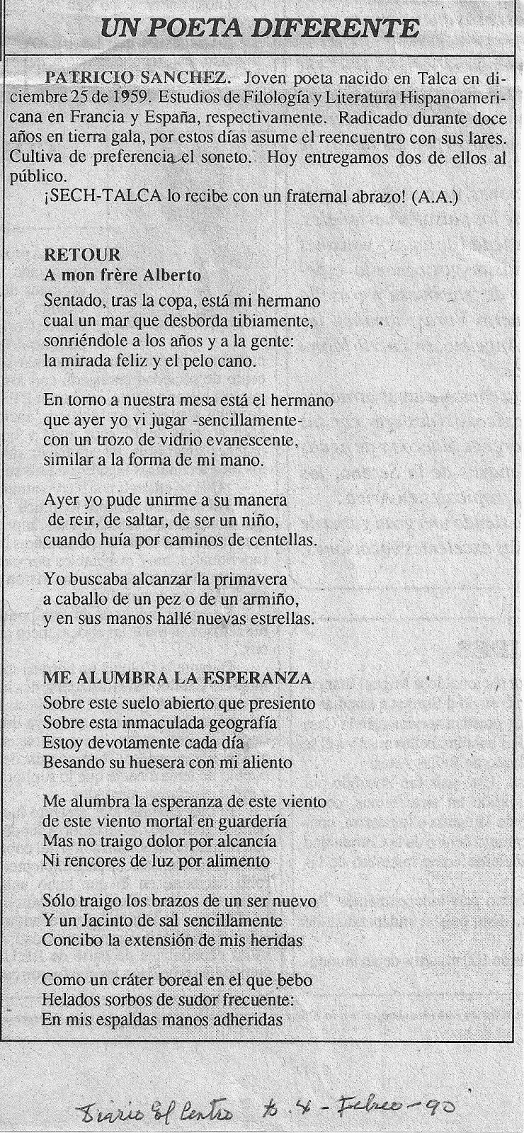 Poemas de Patricio SANCHEZ (Talca, Chile)