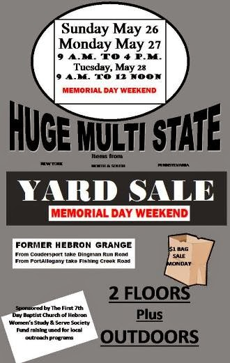 5-26/27/28 Huge Yard Sale At Hebron