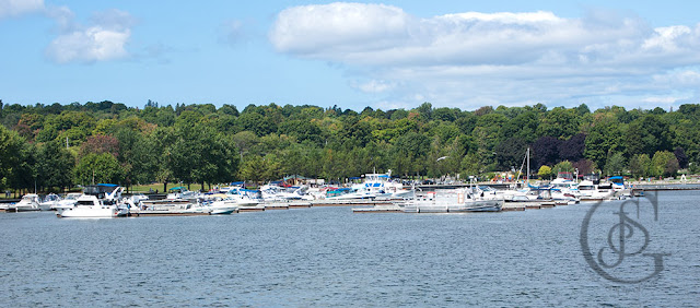 The Port of Orillia with boats docked in the harbour