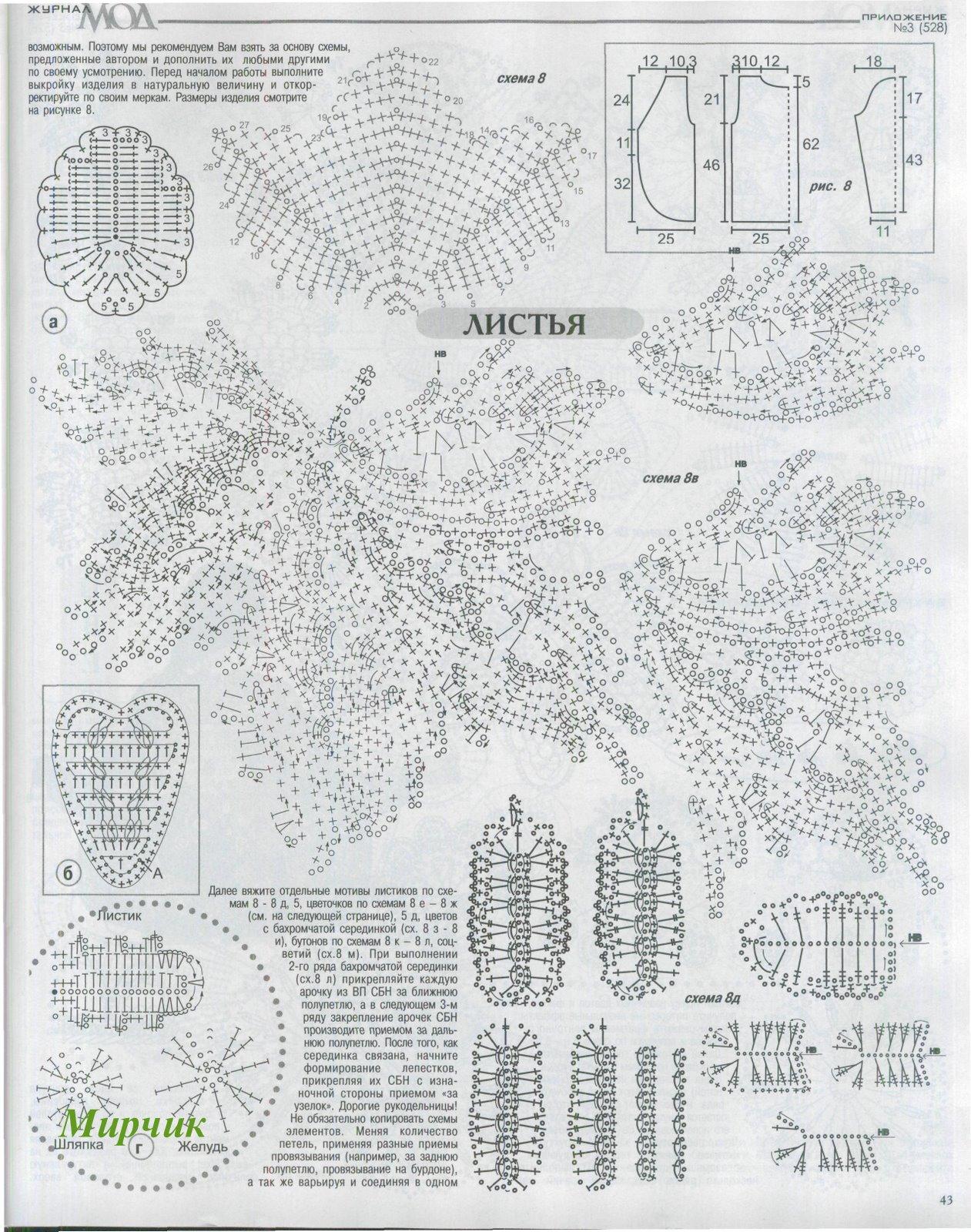 Вязание виноградных листьев схема