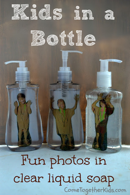 Kid's picture in a liquid hand soap bottle