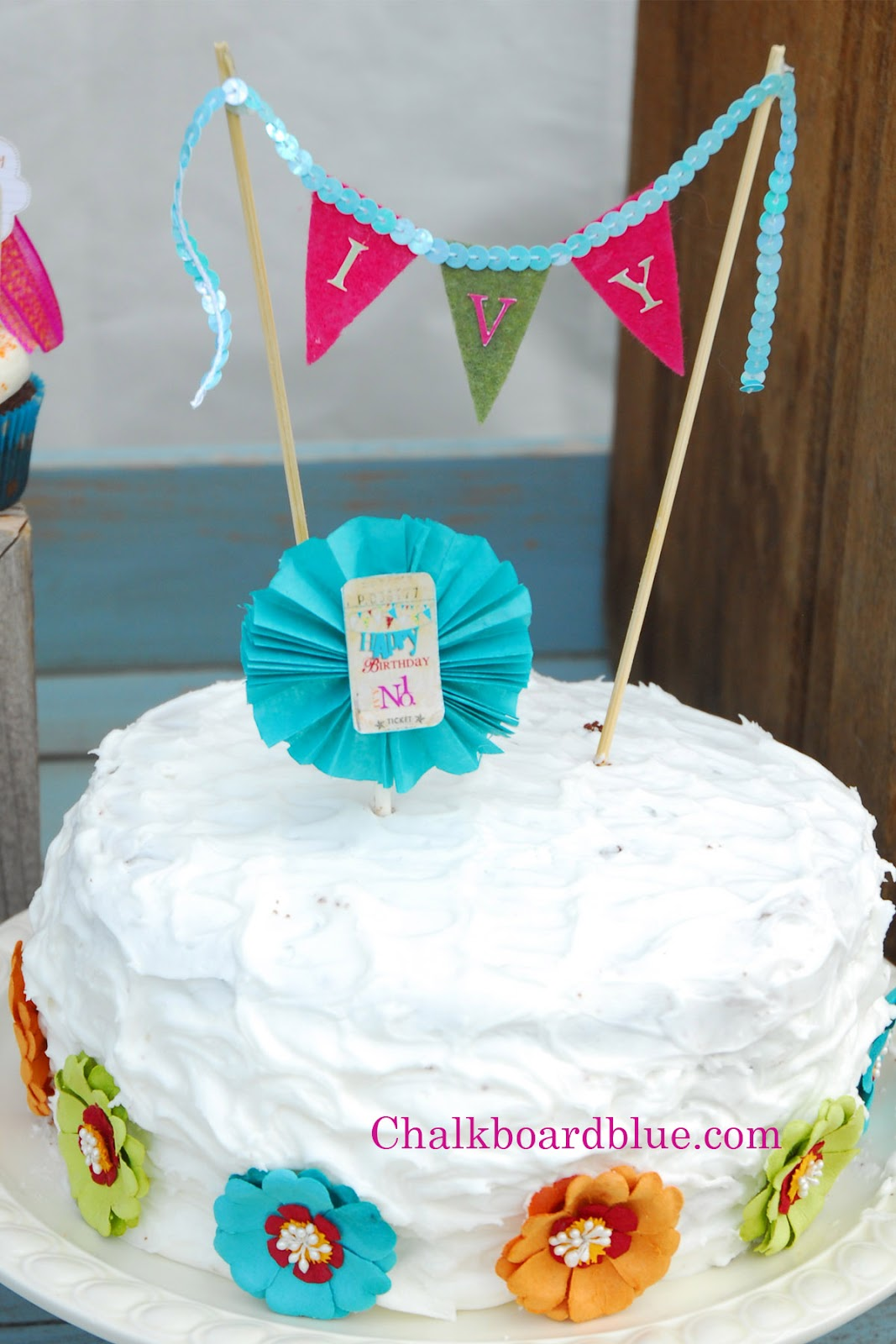 Chalkboard Blue Simple Fun Birthday