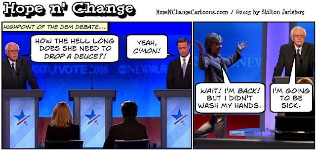 obama, obama jokes, political, humor, cartoon, conservative, hope n' change, hope and change, stilton jarlsberg, democratic, debate, bernie sanders, hillary, bathroom