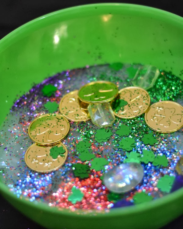 what could be more fun than hunting for treasures in rainbow glitter slime?  {BORAX FREE SLIME RECIPE}