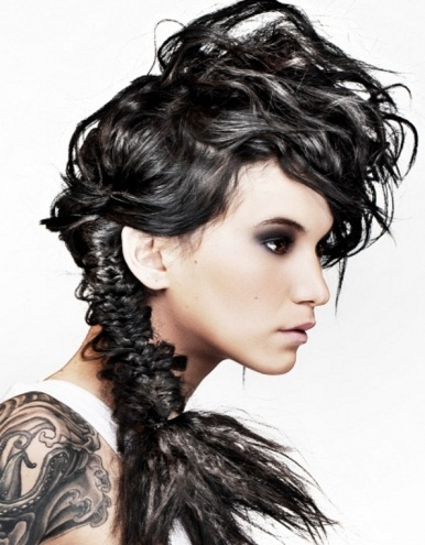 Edgy Braided Ponytail Hairstyle 2014