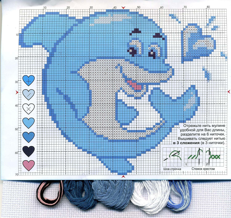 Схема для вышивки дельфинчика