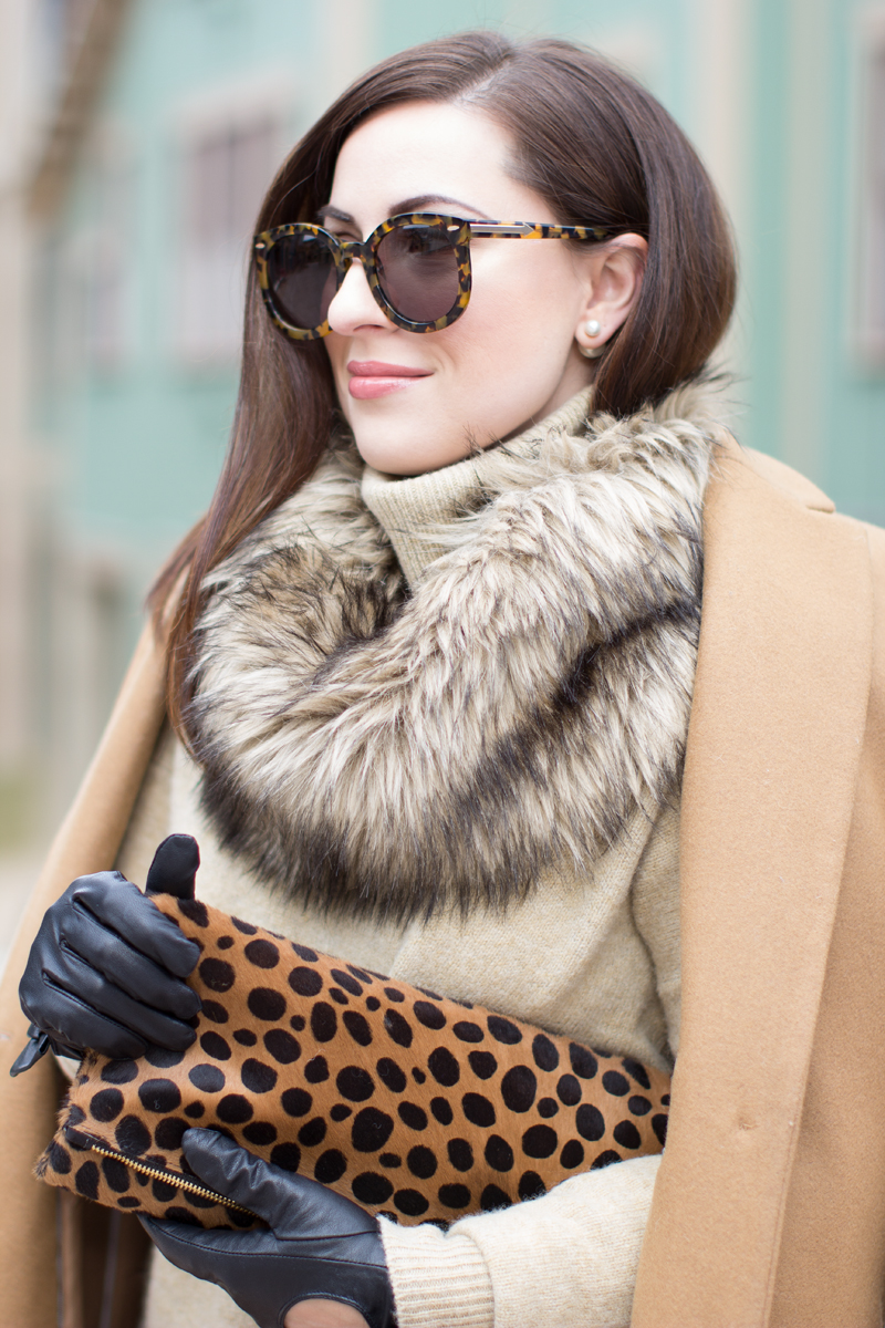 karen walker sunglasses, faux fur scarf