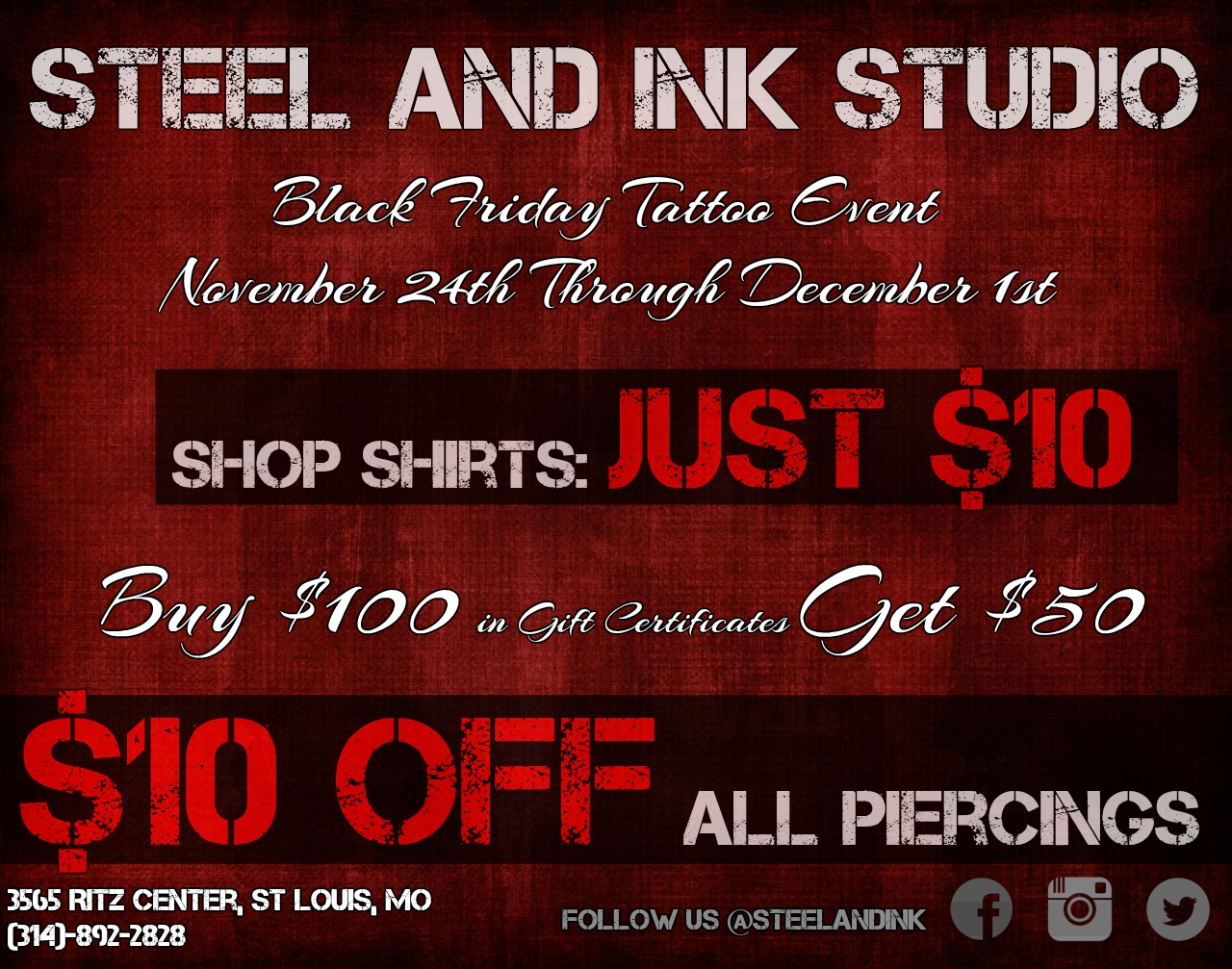 Black friday tattoo event steel ink studio tattoo and coming soon to steel and ink tattoo studio black friday tattoo event after the success of last years black friday gift certificate promotion we decided xflitez Image collections
