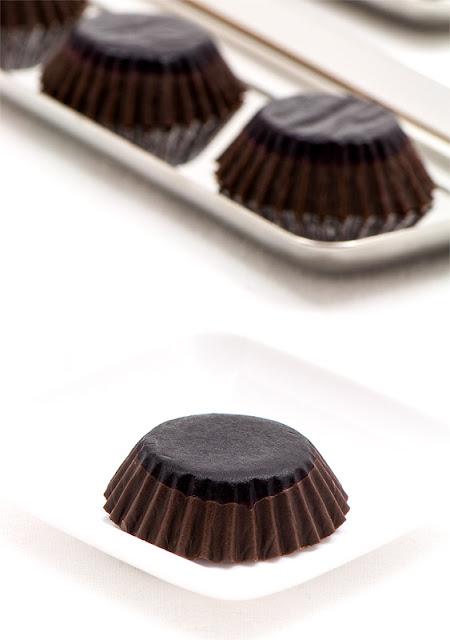 Chocolate with red vine Palmieri Refoškov desert z vanilijo close up on chocolate button