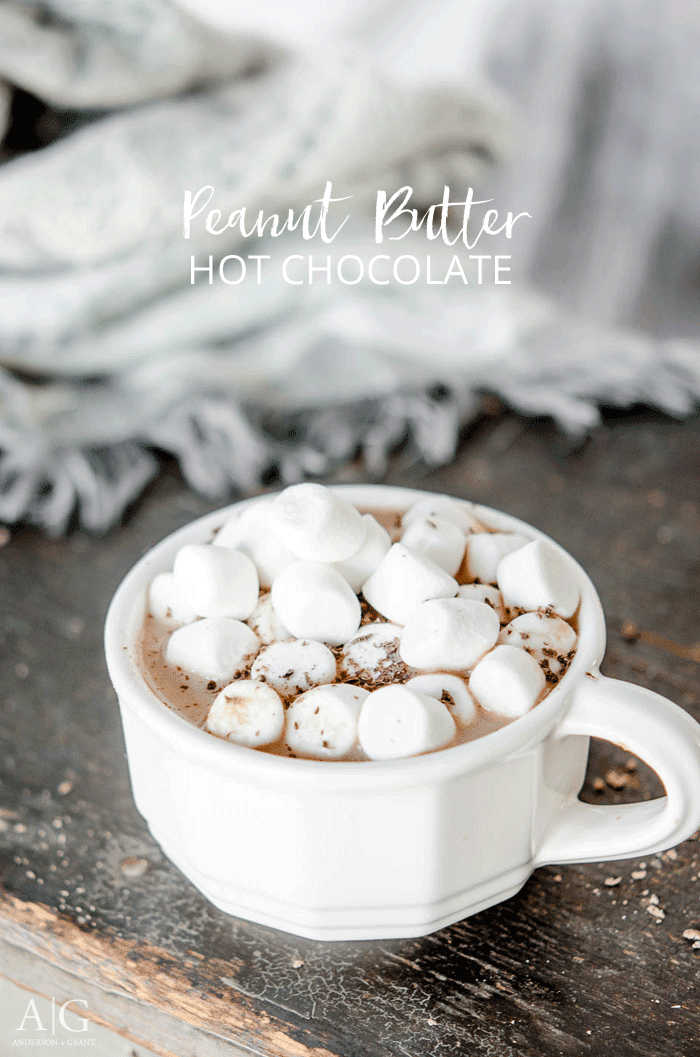 Peanut Butter Hot Chocolate......a delicious recipe with just a few ingredients.  ||  www.andersonandgrant.com