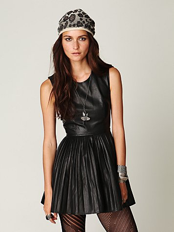 Black leather skater dress.