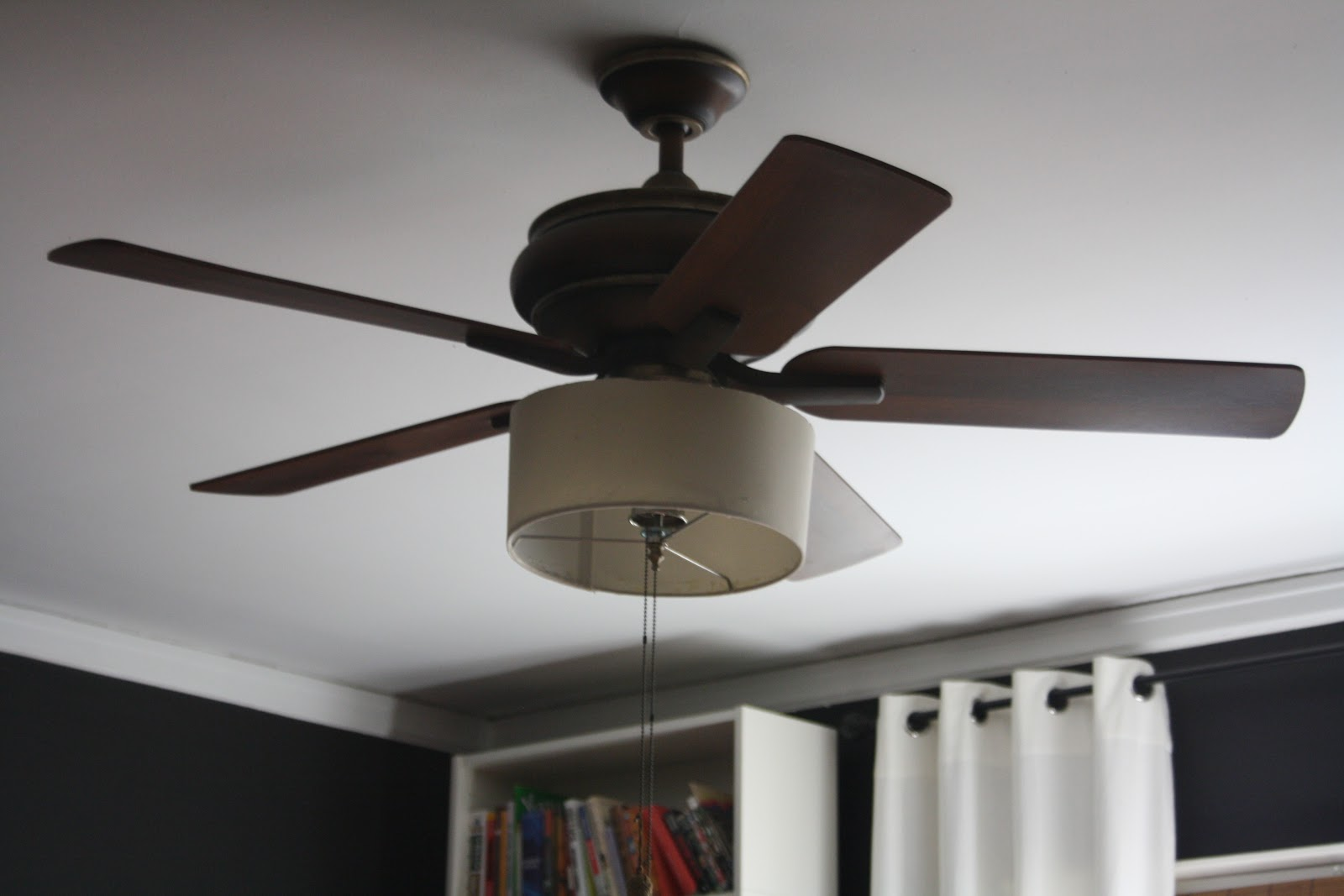 first try with drum shade, ceiling fan makeover