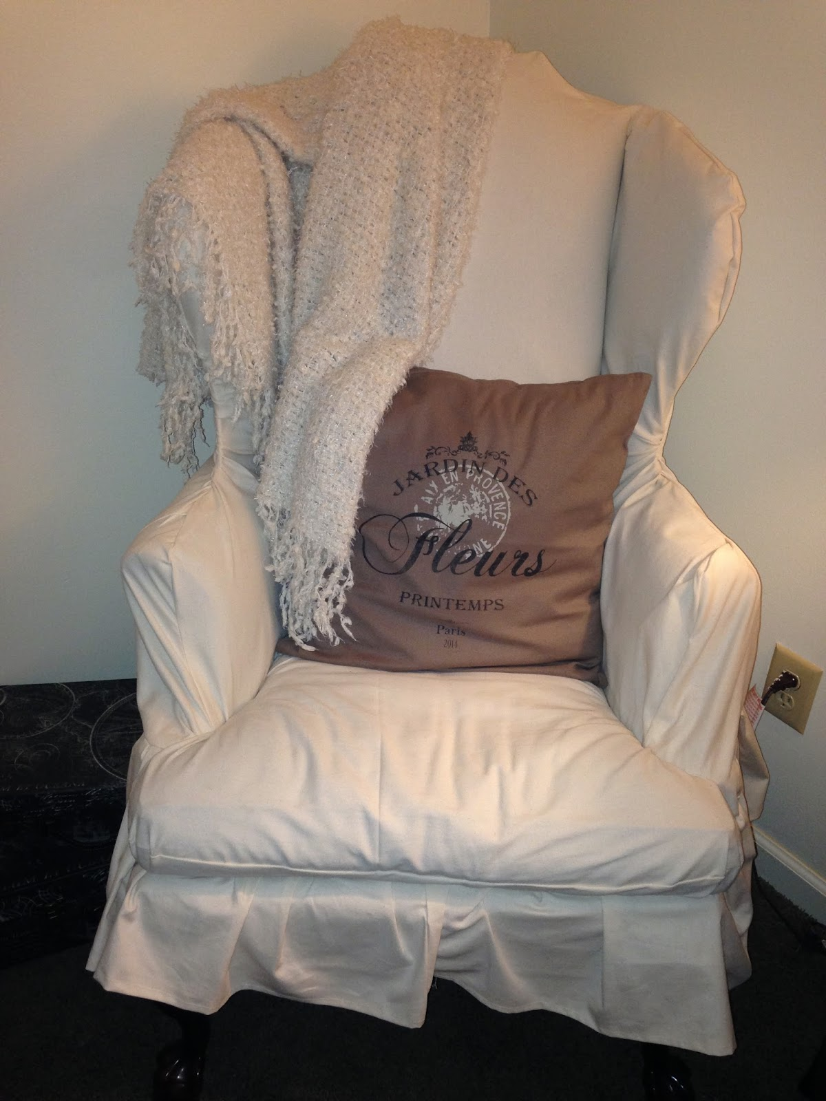 My large wingback chair took about 8 yards of fabric because of the height and ruffle skirt along bottom. & Creative Instincts: DIY Wingback Chair Slipcover