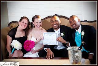 Chris & Karen with attendants - Patricia Stimac, Seattle Wedding Officiant