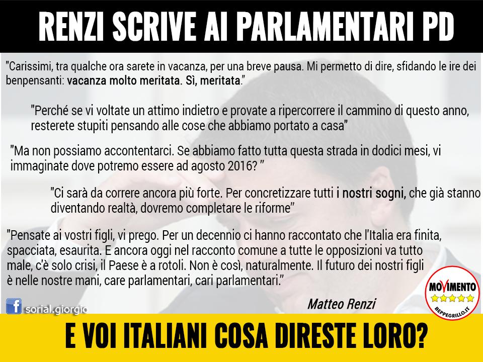 Renzi scrive ai parlamentari del pd iskraeiskrae for Parlamentari del pd