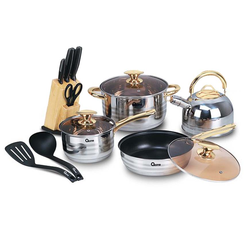 OX-777 Panci  Rosegold Cookware Set Oxone + Knife Block Set
