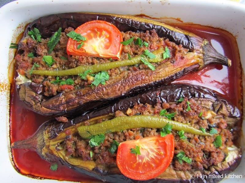 recept gevulde aubergine gehakt oven