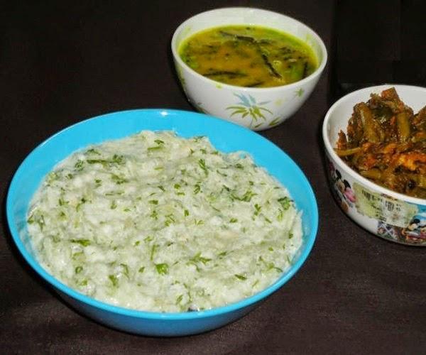 prepared lauki kheera raita