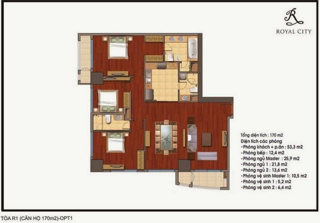 Mặt bằng căn hộ Royal City R1-170m2